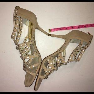 MICHAEL Michael Kors Shoes - MICHAEL MICHAEL KORS tan suede & crystal heels